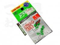 フジワラ ゴムコート ガン玉 - - 緑 紫外線発色 1号 約0.36g スズ製