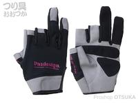 パズデザイン 3フィンガーレスクールドライグローブ - PGV-036 #ブラック/ピンク M