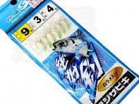 マルシン漁具 アジサビキ 絶好調 -  白ラメ入り #白スキン ラメ入り 鈎9号 ハリス3号 幹糸4号