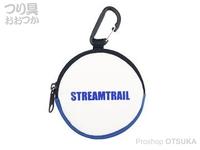 キャップス ストリーム トレイル - コインケースIII #ホワイト/ブルー 直径8×奥行2cm(カラビナ含まず)