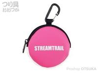 キャップス ストリーム トレイル - コインケースIII #ピンク/ホワイト 直径8×奥行2cm(カラビナ含まず)