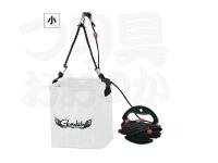 がまかつ 水汲みバケツ(ロープ巻付) - GM-2440 #ホワイト 小 170×170×180mm