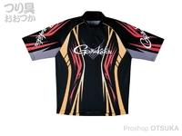 がまかつ 2ウェイプリントジップシャツ 半袖 - GM-3504 # ブラック/レッド Lサイズ