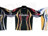 がまかつ 2ウェイプリントジップシャツ 半袖 - GM-3504 # ブラック/レッド LLサイズ