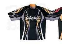 がまかつ 2ウェイプリントジップシャツ 半袖 - GM-3504 #ブラック/ゴールド Mサイズ
