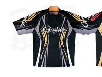 がまかつ 2ウェイプリントジップシャツ 半袖 - GM-3504 #ブラック/ゴールド LLサイズ