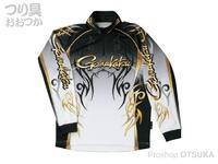 がまかつ 2ウェイプリントシャツ 長袖 - GM-3531 #ブラック Lサイズ