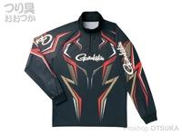 がまかつ 2ウェイプリントジップシャツ 長袖 - GM-3540 #ブラック/ゴールド Lサイズ