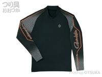 がまかつ ストレッチロングスリーブシャツ - GM-3543 #ブラック/オレンジ サイズL