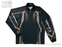 がまかつ フルジップトーナメントシャツ - GM-3569 #ブラック/ゴールド LLサイズ