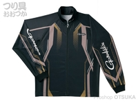 がまかつ フルジップトーナメントシャツ - GM-3569 #ブラック/ゴールド 3Lサイズ