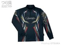 がまかつ 2ウェイプリントジップシャツ 長袖 - GM-3616 #ブラック Mサイズ