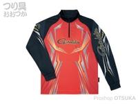 がまかつ 2ウェイプリントジップシャツ 長袖 - GM-3616 #レッド Lサイズ