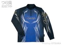 がまかつ 2ウェイプリントジップシャツ 長袖 - GM-3616 #ブルー Lサイズ