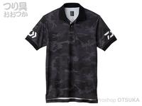 ダイワ 半袖ポロシャツ - DE-7906 #ブラックカモ×ホワイト 2XLサイズ