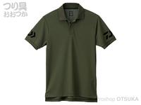 ダイワ 半袖ポロシャツ - DE-7906 #オリーブ×ブラック Lサイズ