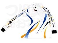 エクセル ドライジップアップシャツ - FP-5090 #ホワイト/ブルー Lサイズ