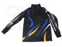 エクセル ドライジップアップシャツ - FP-5090 #ブラック/ブルー LLサイズ