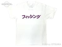 RCMF ラーメンカレーミュージックフィッシング Tシャツ - RCMF フィッシング カタカナ #ホワイト/パープルロゴ Lサイズ