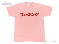 RCMF ラーメンカレーミュージックフィッシング Tシャツ - RCMF フィッシング カタカナ #ライトピンク/レッドロゴ Lサイズ