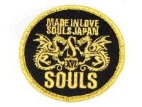 ソウルズ SOULS丸型ワッペン -  丸型 ゴールド×BK