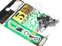ささめ針 スナップ付パワーステンスイベル - 210-B ブラック 5号