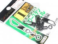 ささめ針 スナップ付パワーステンスイベル - 210-B ブラック 1号