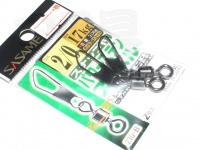 ささめ針 スナップ付パワーステンスイベル - 210-B ブラック 2/0号