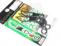 ささめ針 スナップ付パワーステンスイベル - 210-B ブラック 3/0号