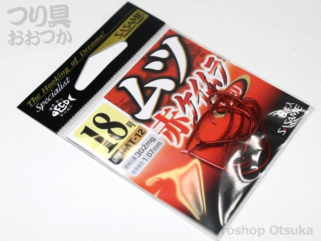 ささめ針 ムツ鈎 赤ケイムラ MT-12 18号 ヒネリ #赤