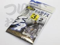 オーナー 2mカット黒チヌ - 糸付 黒 鈎:3号 ハリス:2号2m付