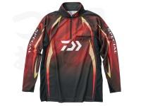 ダイワ スペシャル アイスドライ ジップアップ長袖メッシュシャツ - DE-70009 #マグマブラック サイズXL