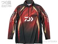 ダイワ スペシャル アイスドライ ジップアップ長袖メッシュシャツ - DE-70009 #マグマブラック サイズ2XL