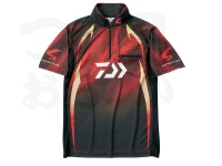 ダイワ スペシャル アイスドライ ジップアップ半袖メッシュシャツ - DE-71009 #マグマブラック サイズM