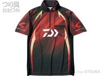ダイワ スペシャル アイスドライ ジップアップ半袖メッシュシャツ - DE-71009 #マグマブラック サイズXL