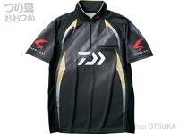 ダイワ スペシャル アイスドライ ジップアップ半袖メッシュシャツ - DE-71009 #マスターブラック サイズXL