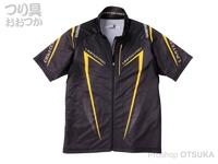 シマノ リミテッドプロ フルジップシャツ(半袖) - SH-012S # ブラック/イエロー Lサイズ
