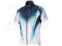 シマノ リミテッドプロ フルジップシャツ(半袖) - SH-012S #ホワイト/ブルー サイズXL