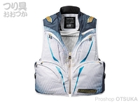 シマノ リミテッドプロ 2WAYベスト - VE-011S #ホワイト/ブルー サイズL