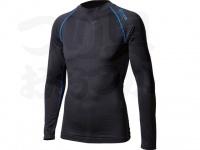 おたふく手袋 ボディアンドタフネス - BTアウトラスト ロングスリーブクルーネックシャツ JW-540 ブラック/ブルー サイズLL胸囲104-112身長175-185cm