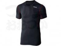 おたふく手袋 ボディアンドタフネス - BTデュアルメッシュ ショートスリーブクルーネックシャツ JW-601 ブラック/レッド Mサイズ 胸囲88-96 身長165-175cm