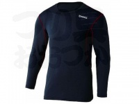 おたふく手袋 ボディアンドタフネス - BTデュアルメッシュ ロングスリーブクルーネックシャツ JW-602 ブラック/レッド Mサイズ 胸囲88-96 身長165-175cm