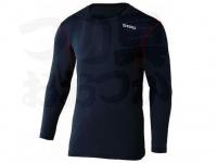 おたふく手袋 ボディアンドタフネス - BTデュアルメッシュ ロングスリーブクルーネックシャツ JW-602 ブラック/レッド Lサイズ 胸囲96-104 身長175-185cm