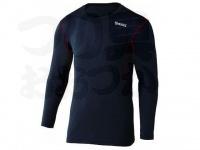 おたふく手袋 ボディアンドタフネス - BTデュアルメッシュ ロングスリーブクルーネックシャツ JW-602 ブラック/レッド LLサイズ 胸囲104-112 身長175-185cm