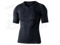 おたふく手袋 ボディアンドタフネス - BTデュアルクロス ショートスリーブVネックシャツ JW-591 ブラック サイズM-L胸囲92-104 身長170-180cm