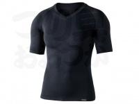 おたふく手袋 ボディアンドタフネス - BTデュアルクロス ショートスリーブVネックシャツ JW-591 ブラック サイズL-XL胸囲104-114 身長175-185cm