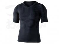 おたふく手袋 ボディアンドタフネス - BTデュアルクロス ショートスリーブVネックシャツ JW-591 グレー/ブラック サイズM-L胸囲92-104 身長170-180cm