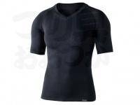おたふく手袋 ボディアンドタフネス - BTデュアルクロス ショートスリーブVネックシャツ JW-591 グレー/ブラック サイズL-XL胸囲104-114 身長175-185cm