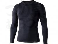 おたふく手袋 ボディアンドタフネス - BTデュアルクロス ロングスリーブクルーネックシャツ JW-592 ブラック サイスL-XL胸囲104-112 身長175-185cm