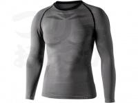 おたふく手袋 ボディアンドタフネス - BTデュアルクロス ロングスリーブクルーネックシャツ JW-592 グレー/ブラック サイズM-L胸囲92-104 身長170-180cm